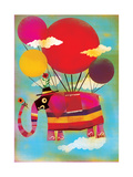 Elephant Flying on Balloons Prints by Lee Hodges