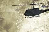Silhouette of Helicopter Against Wall Posters by Adrian Bradbury