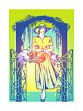 Elegant Woman Picking Flowers in Garden Stampe di David Chestnutt