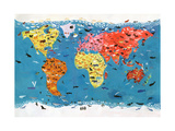 World Map of Wild Animals Prints by Chris Corr