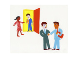 Businessmen Arriving for Job Interview Posters af Chris Corr