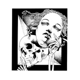 Skeleton Holding Mask Posters by David Chestnutt