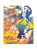Woman Grilling Outdoors Prints by David Chestnutt