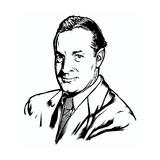 Portrait of Man in Suit on White Poster von Matthew Laznicka