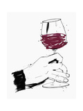 Hand Swirling Glass of Red Wine Premium Giclee Print by Ben Tallon