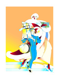 Bellhop with Boxes and Employer in Ice Rink Poster by David Chestnutt