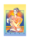 Woman with Coffee and Cake Handwriting Posters by David Chestnutt