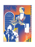 Waiter in Restaurant Prints by David Chestnutt