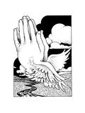 Hands Clasped over Landscape with River Premium gicléedruk van David Chestnutt