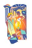 Businessman and Businesswomen in Street Posters af David Chestnutt