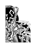 Saxophone and Musical Notes Poster by David Chestnutt