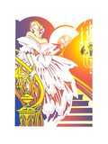Beautiful Woman in Evening Gown Standing on Stairs Stampe di David Chestnutt