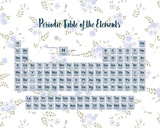 Periodic Table Of The Elements Blue Floral Poster af  Color Me Happy