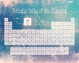 Periodic Table Blue Grunge Background Affiches par  Color Me Happy