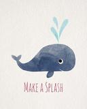 Make a Splash Whale White Lámina por  Color Me Happy