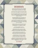 Desiderata Triangle Pattern Frame Blue Print by  Quote Master