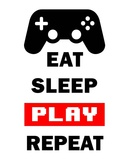 Eat Sleep Game Repeat - White and Red Pósters por  Color Me Happy