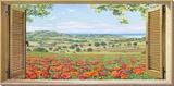 Finestra su campo di papaveri Opspændt lærredstryk af Andrea Del Missier