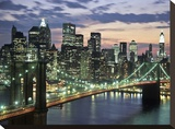 Brookyn bridge and Downtown skyline, NYC Stretched Canvas Print by Michel Setboun