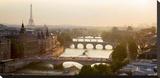 Bridges over the Seine river, Paris Stretched Canvas Print by Michel Setboun