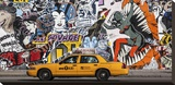 Taxi and mural painting in Soho, NYC Stretched Canvas Print by Michel Setboun