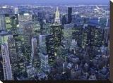 Manhattan skyline at dusk, NYC Stretched Canvas Print by Michel Setboun
