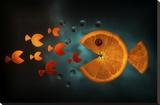 Orange Fish Stretched Canvas Print by Aida Ianeva