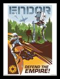 Star Wars, La Guerre des Étoiles - Endor, Defend the Empire (Robots) Reproduction encadrée pour collectionneurs