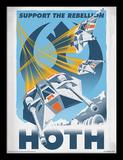 Star Wars, La Guerre des Étoiles - Hoth, Support the Rebellion (Vaisseaux spatiaux) Reproduction encadrée pour collectionneurs