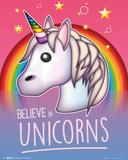 Emoji Believe In Unicorns Posters