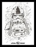 Star Wars, La Guerre des Étoiles, 40e anniversaire - At-At Pilot Reproduction encadrée pour collectionneurs