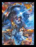 Star Wars, La Guerre des Étoiles, 40e anniversaire - Collage Reproduction encadrée pour collectionneurs