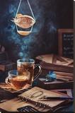 Steampunk Tea (with A Blimp) Pingotettu canvasvedos tekijänä Dina Belenko