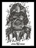 Star Wars, La Guerre des Étoiles, 40e anniversaire - Darth Vader, Dark Vador Reproduction encadrée pour collectionneurs