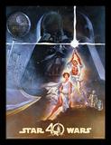 Star Wars, La Guerre des Étoiles, 40e anniversaire - New Hope, Un nouvel espoir - Affiche Reproduction encadrée pour collectionneurs