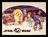 Star Wars, La Guerre des Étoiles, 40e anniversaire - Personages, format paysage horizontal Reproduction encadrée pour collectionneurs