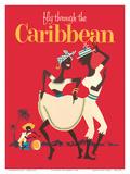 Fly through the Caribbean (Vola ai Caraibi) - ballerini di calypso e suonatore di conga Stampe di  Pacifica Island Art