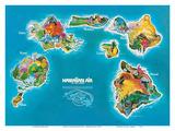 Hawaii-øyene, rutekart – Hawaiian Air Lines Posters av  Pacifica Island Art