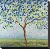 Tree in Blue Stretched Canvas Print by Libby Smart