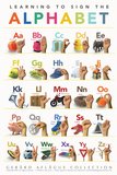 Lehrposter - Alphabet der amerikanischen Gehörlosen-Zeichensprache für Kinder Poster von  Gerard Aflague Collection