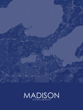 Madison, United States of America Blue Map Poster