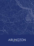 Arlington, United States of America Blue Map Plakater