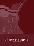 Corpus Christi, United States of America Red Map Poster