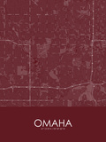 Omaha, United States of America Red Map Poster