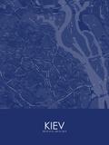 Kiev, Ukraine Blue Map Print