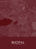 Bhopal, India Red Map Pôsters