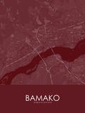 Bamako, Mali Red Map Posters