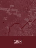 Delhi, India Red Map Prints