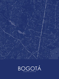 Bogota, Colombia Blue Map Posters