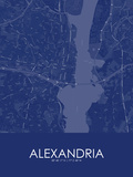 Alexandria, United States of America Blue Map Plakater